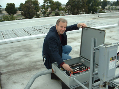 Mark C. Robinson Servicing a PV System in El Cajon, CA.